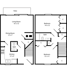 Two Bedroom Townhome - 989 Square Feet