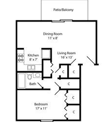 One Bedroom - 675 Square Feet