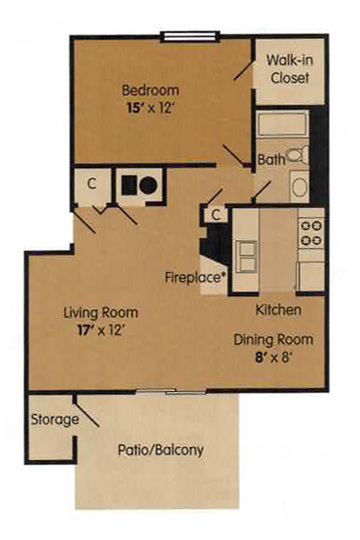 One Bedroom - 691 Square Feet