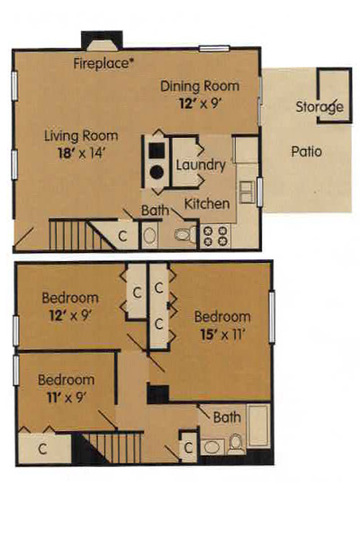 3 Bedroom Townhome - 1189 Square Feet