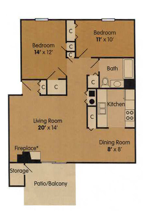 Two Bedroom - 890 Square Feet Floor Plan Image