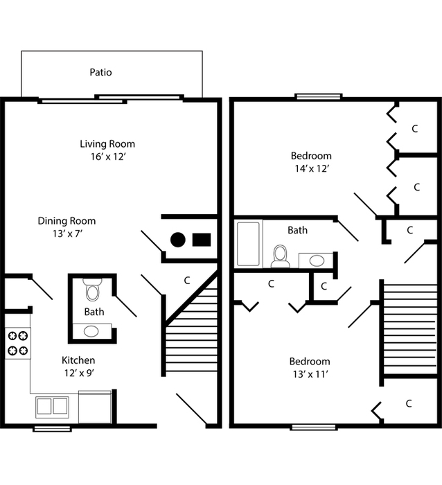 Two Bedroom Townhome - 989 Square Feet Floor Plan Image
