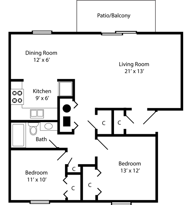 Two Bedroom - 926 Square Feet Floor Plan Image