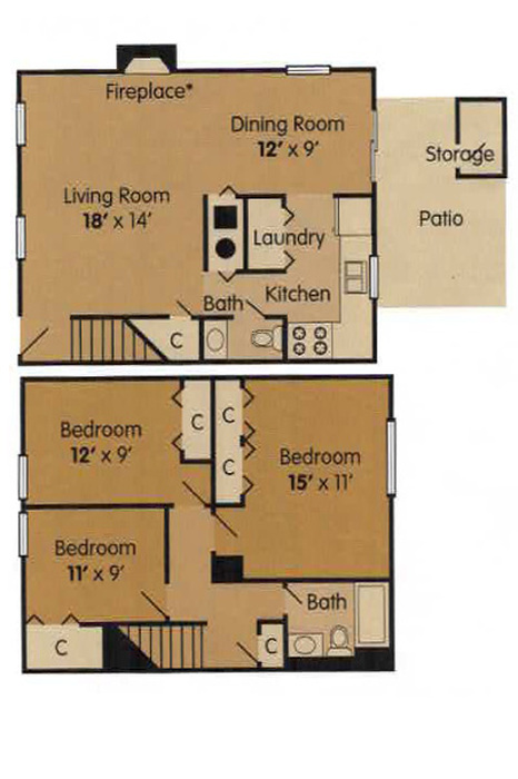 3 Bedroom Townhome - 1189 Square Feet Floor Plan Image
