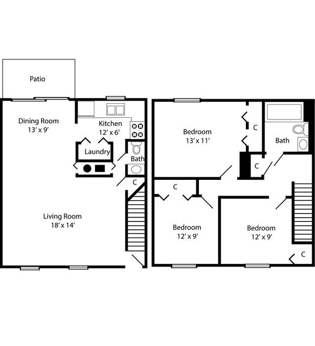 Three Bedroom Townhome - 1104 Square Feet Floor Plan Image