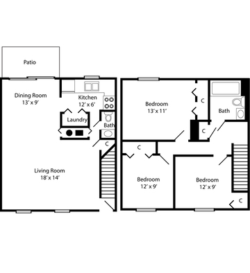 Three Bedroom Townhome - 1104 Square Feet