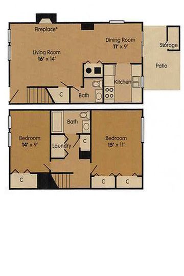 2 Bedroom Townhome - 996 Square Feet